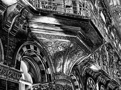 Carved stonework (Snapshooter46) Tags: stonework gothicrevival ornate carving renaissancehotel saintpancras architecture architect georgegilbertscott railwayhotel midlandrailway photosketch monochrome blackandwhite london carvedstonework