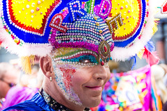 Covered in Pride (DobingDesign) Tags: lgbt gaypride2017 prideinlondon costume colours streetphotography sequins glitter dressedup shy london londonstreets makeup