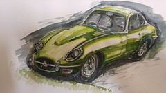 Not British Racing Green (Unmarriedswede) Tags: e type jaguar classic sports car british drawing sketch
