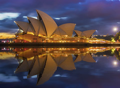 The Morning After Reflection (merbert2012) Tags: red worldpeace australia sydneyharbour sydneyoperahouse sydney bluehour sunrise reflection digitalmanipulation longexposure nikond800 fun travel reisen muslims