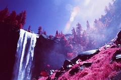 Vernal Falls, Yosemite National Park (cris_that1) Tags: yosemite national park vernal falls mist trail waterfall infrared aerochrome infrachrome fpp film photography project 35mm minolta srt101