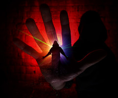 Its All in Hand (neil rushby photography) Tags: double doubleexposure silhouette hand tunnel sheffield derbyshire godox led ledlenser colourful creative artistic laser smoke sooc straightoutofcamera straight out camera afterdark nocturnal light lightpainting lee gels bright colour