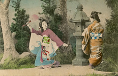 Yachiyo dancing in a Genroku Odori 1905 (Blue Ruin 1) Tags: geiko geisha osaka genrokuodori genrokustyle uchiwa roundfan japanese japan meijiperiod 1905 postcard handcolouredpostcard tondayayachiyo yachiyo