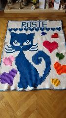 Cat blanket for Rosie (dochol) Tags: cat chat hearts blanket afghan manta crafts crochet croche haakwerk hakeln haakenwert cute handmade homemade handcrafted wool yarn crochethook personalised name alphabet