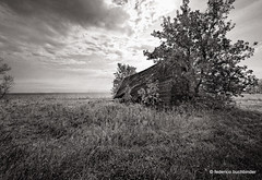 (Barely) Standing on a Beach (/ shadows and light) Tags: hnausa manitoba lakewinnipeg abandoned abandonment barn clouds countryside decay decayed decaying derelict collapsing collapsed monochrome bw trixgrain old ruralexploration rurex sky