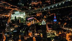 Cleveland, Ohio and Indians vs Rangers (Victor Dvorak) Tags: cleveland ohio downtown aerialphotography nightphotography skyline skyscrapers lights cityscapes nikon d300s 20mmf28d clevelandindians rangers progressivefield texasrangers majorleaguebaseball mlb