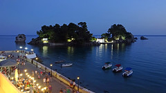 The island of Panagia (stumpyheaton) Tags: parga greece ionian 2017 sony cyber shot dscwx350 night time mediterranean sea sky blue water boats light church island