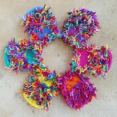 A circle of six crochet scrap cats (crochetbug13) Tags: crochet crocheted crocheting crochetcat crochetcats amigurumicat amigurumicats scrapyarn scrapyarncrochet usewhatyouhave wastenotwantnot