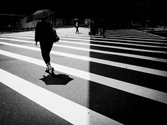 .[of] light and darkness. (Shirren Lim Photography) Tags: blackandwhite monochrome people crossroads japan ricoh graphic lines abstract outdoor symmetry woman umbrella streetphotography urban