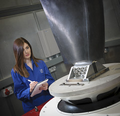 Vibration induced fatigue test for an aircraft open rotor propeller blade (TWI Ltd) Tags: shaker testing fatigue twiltd