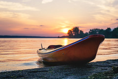 Beach, Kayak and Sunset (patviau) Tags: kayak water watersport nature beach river ottawa sunset sun sand landscape outdoors