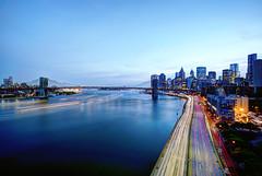 night traffic (mudpig) Tags: hdr nyc bridge river eastriver newyorkcity manhattan brooklyn lighttrail traffictrail longexposure skyline skyscraper night