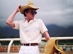 Another day at the racetrack. (Polarbear_Productions) Tags: rancher youngman derby horses hat dirt portrait leica hunk cowboy farmer nocticron panasonicgh5 santaanita california santaanitaracetrack racetrack