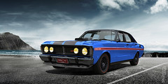 Falcon In The Bay (Nike_747) Tags: naksphotographydsign falcon bay 1971 ford xy 351 gt muscle car sportscar australia sedan phase blue red white black carbon fiber mountains rocks sea water refkection classic ride fog smoke clouds sky roadlegal 4door monster waves