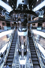 Sci Fi Sydney (Pat Charles) Tags: architecture sydney newsouthwales nsw australia shops shopping centre center interior decoration decor escalator stairs inside indoor indoors level floor symmetry leadinglines futuristic future metal metallic nikon westfield