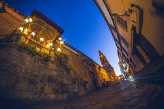 Córdoba at blue hour, Spain (thethomsn) Tags: bluehour spain architecture building wall street fisheye walimex 8mm thethomsn longexposure córdoba moody illuminated