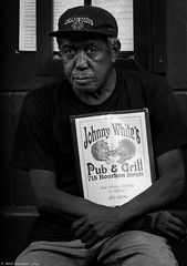 Johnny White's (Neil. Moralee) Tags: neilmoralee usa2017neilmoralee man old mature hat cap poster johnny white bar grill pub black mono monochrome bw bandw blackandwhite street candid bourbon new orleans grandpa granddad pop advertise neil moralee nikon d7200 usa