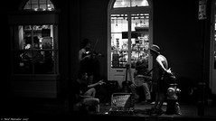 The BigDawg Slingshots and the fire lane (Neil. Moralee) Tags: neilmoralee usa2017neilmoralee street musician busker low light high iso neil moralee nikon d7200 new orleans french quarter night dark dim black white bw bandw blackandwhite mono monochrome window shop blues jaz jazz rock roll play instrument player guitar banjo violin bob wills fiddle hot swing western buskers dixieland trombone trumpet tuba