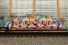 REDES (TheGraffitiHunters) Tags: graffiti graff spray paint street art colorful freight train tracks benching benched racks autoracks redes