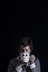 Day 3793 (evaxebra) Tags: coffee cafe wh wah black negative space drink jack skellington mug disney