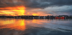Karmsundet, Norway (Vest der ute) Tags: xt2 norway rogaland haugesund reflections sunset seascape sea landscape sky clouds houses boats fav25 fav200
