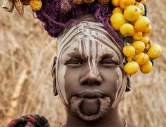 Mursi Woman (Rod Waddington) Tags: africa african afrique afrika äthiopien ethiopia ethiopian ethnic etiopia ethnicity ethiopie etiopian omovalley omo omoriver outdoor mursi tribe traditional tribal portrait people painted face scarification decoration culture cultural woman