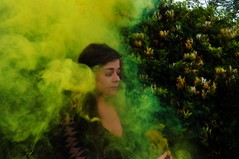 Smoke (lauriegirl97) Tags: editorial yellow smokebomb fireworks selfportrait portrait enchanted mysterious mystery fairytale fantasy fog smoke pop color