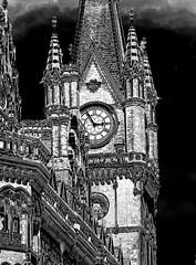 Clock tower (Snapshooter46) Tags: renaissancehotel saintpancras clocktower architecture architect georgegilbertscott gothicrevival ornate london railwayhotel midlandrailway monochrome blackandwhite photosketch