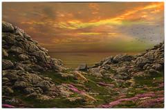 sunset (Françoise kERVAREC) Tags: matte painting sunset bretagne mer roches imaginaire