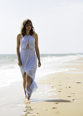 Jody Sturman (sulisloveswater) Tags: girl lady woman beach bluedress water blue walking sunglasses