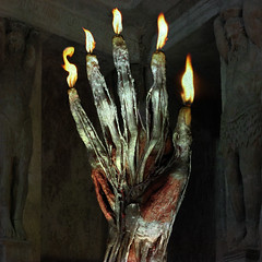 Hand of Glory (Seeing Visions) Tags: 2017 photocollage plastination humanremains gunthervonhagens hand tendons muscles fingers handofglory flame fire magic pompeii texture square raymondfujioka