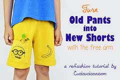Refashioning for kids: turn old pants into shorts (cucicucicoo) Tags: refashion refashioning refashioned sew sewing sewingforkids sewforkids summersew summersewing pants trousers shorts minion minions sewclothes sewingclothes yellow