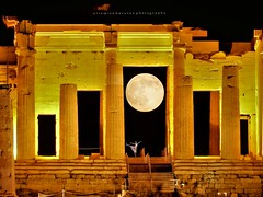The moon at the gates of the Acropolis (artemioskaravas) Tags: athens artemiosphotos akropolis attica ancient town exposure greece travel street sky city sunny photography streetphotography urban fullmoon night old moon person dancing girl silhouette
