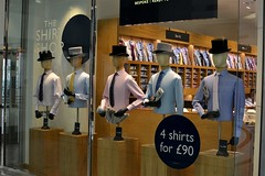 2017-05-27: Ascot Line-up (psyxjaw) Tags: london londonist canary wharf canarywharf shop shopping centre moss suit shirt tophat window display hat