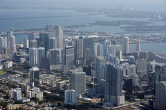 Aerial view of Miami, Biscayne Bay, and Miami Beach, Florida (cocoi_m) Tags: aerialphotograph aerial miami biscaynebay miamibeach florida cruiseship atlanticocean