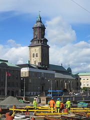 Workmen and tower of Tyska kyrkan, Gothenburg, Sweden (Paul McClure DC) Tags: gothenburg sweden sverige july2015 göteborg historic architecture people church