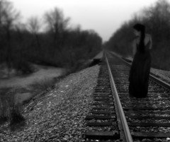 You Coming With? (coollessons2004) Tags: railroad tracks train krystalsmith woman surreal