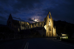 Moon over the Abbey (Roger.C) Tags: tintern tinternabbey church churches historic history old ancient stone wyevalley monmouthshire wfc wales southwales abbey moon moonlight sky clouds illuminated floodlit dark night longexposure nightshot walesnikon beautiful beauty tamron 2470 d610 hdr hdrfromsingleraw