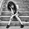 girl on the steps (-liyen-) Tags: female bw portrait sitting steps outdoors sunglasses square fujix100f pregamewinner challengeyouwinner
