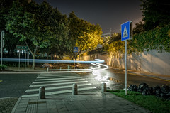 Night Crossing (Andrew_Dempster) Tags: nightshot path garbagebags urban road guangdong lighttrails night futiandistrict cartrails nightphotography shenzhen nightscape longexposure china pedestriancrossing