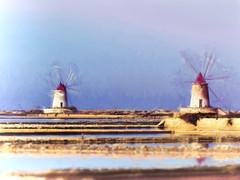 Windmills And Salt Pans (Artypixall) Tags: sicily marsala windmills saltpans lagoon faa getty