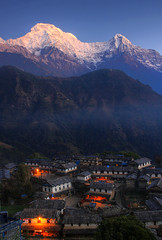 Morning Sunrays on Annapurna South, Hiuchuli & Ghandruk village (ashishkoirala) Tags: sunrise annapurna ghandruk himalayas architecture village nepal kaski morning mountains hiuchuli