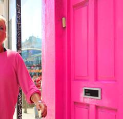 Pink (WHO 2003) Tags: brighton pink door woman