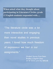 "Educational Postcard: ""The literature circle was a lot more interactive and engaging than novel studies in previous years...."" (Ken Whytock) Tags: litcircles literaturecircles interactive engaging novelstudies freedom expression assignments studentvoice student survey"