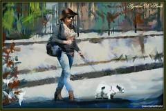 La signora con il cagnolino - Luglio-2017 (agostinodascoli) Tags: art digitalart digitalpainting creative donna colore fullcolor nikon nikkor cianciana sicilia photoshop photopainting texture cane painterly