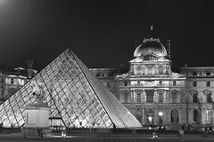 Louvre by night (Aurélien Latour) Tags: architecture france bw parisbynight pyramidedulouvre louvre paris