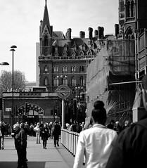 St Pancras, London (angelacleasby) Tags: london underground subway england uk st pancras blackandwhite city street photography
