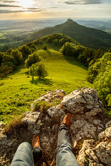 Careful! (simonpe86) Tags: castle shadow contrast schloss tree deutschland cut burghohenzollern germany sky green burg hohenzollern hill clouds