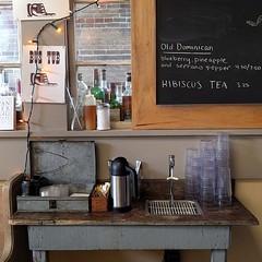 #coffeebar #condiments #repurpose #rustic #antique #chalkboard #tin #crate #breakfastspot #seattle ... #brickwall #bar (Heath & the B.L.T. boys) Tags: instagram restaurant coffee condiments vintage chalkboard rustic crate repurpose brick seattle
