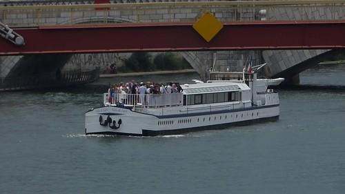 Boats seen from Pont Maréchal Juin - River Saône, Lyon - Ville de Lyon - HD video clip